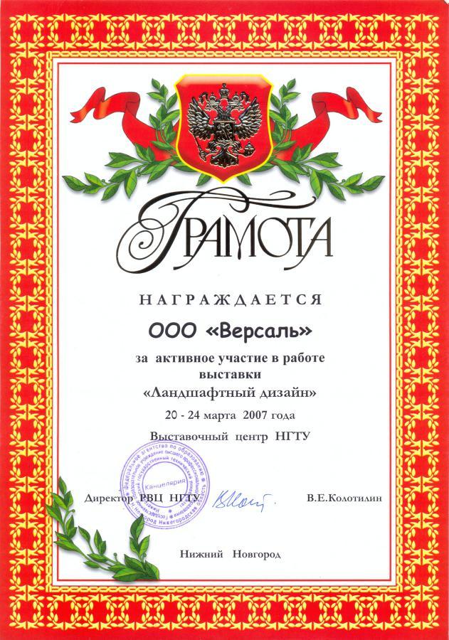 Грамота НГТУ 2007