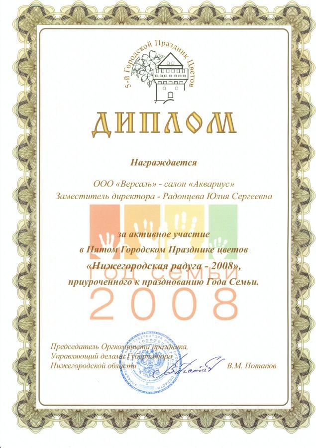 Диплом от Администрации Нижнего Новгорода 2008
